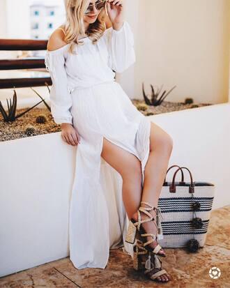 dress tumblr off the shoulder off the shoulder dress maxi dress white long dress long dress slit dress sandals sandal heels high heel sandals bag tote bag shoes