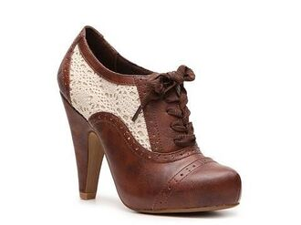 shoes oxfords lace brown heels