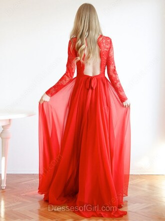 dress red long sleeves fashion style romantic gown formal open back lace chiffon dressofgirl prom prom dress