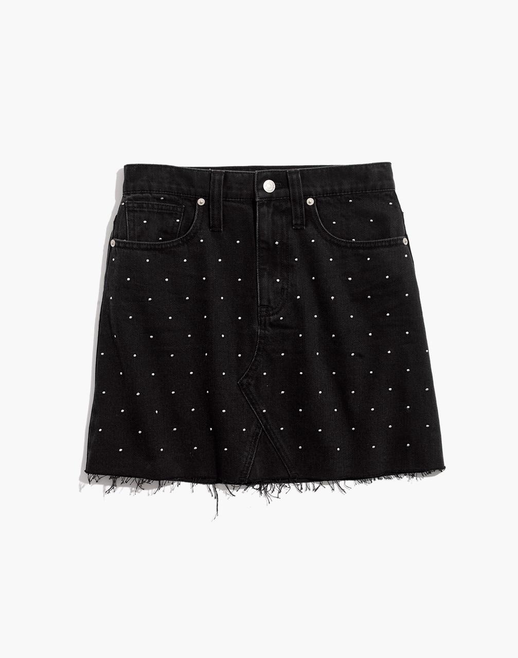 Rigid Denim A-Line Mini Skirt: Metallic Dots Edition