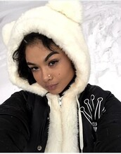 winter outfits,fluffy,winter coat,nose ring,curly hair,india love,white\,white,cute,dope,diamonds,varsity jacket,jewels,nose jewelry,heart,studded hearts,india westbrooks,sweater,hood,hoodie,black and white