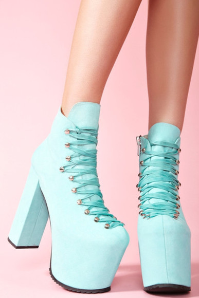 unif shoes turquoise platform shoes