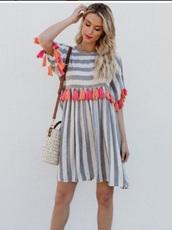 dress,girly,girl,girly wishlist,stripes,striped dress,grey,white,tassel