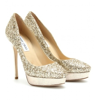 shoes jimmy choo high heels glitter gold wedding shoes