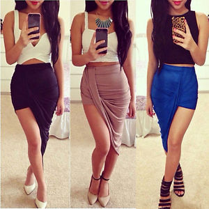 Trend High Waisted Draped Asymmetric Stretch Low Mini Skirt Wrap ...