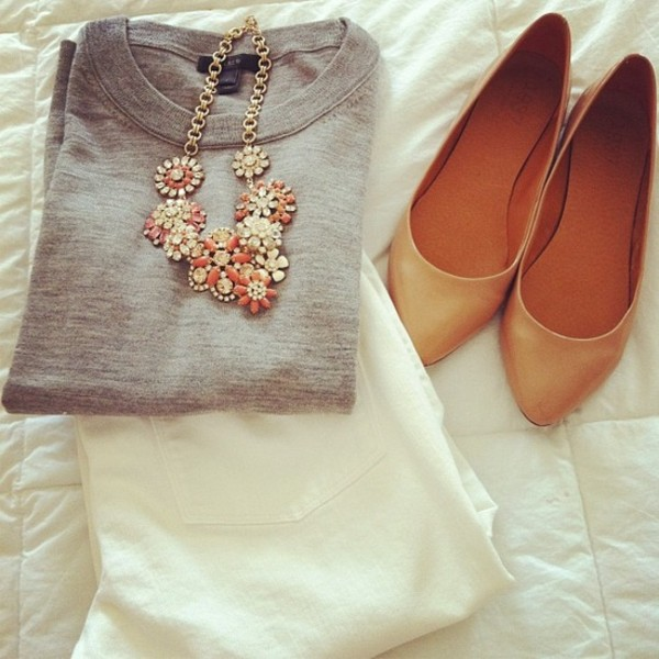 jewels flowers necklace orange coral yellow statement necklace shoes skinny pants high heels