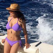 swimwear,salma hayek,bikini,bikini top,bikini bottoms,hat,instagram,body,summer