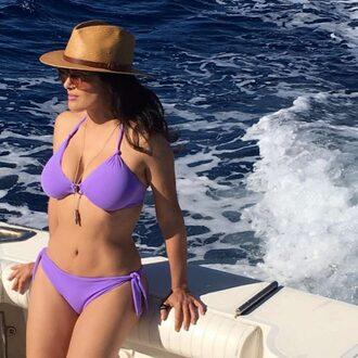 swimwear salma hayek bikini bikini top bikini bottoms hat instagram body summer