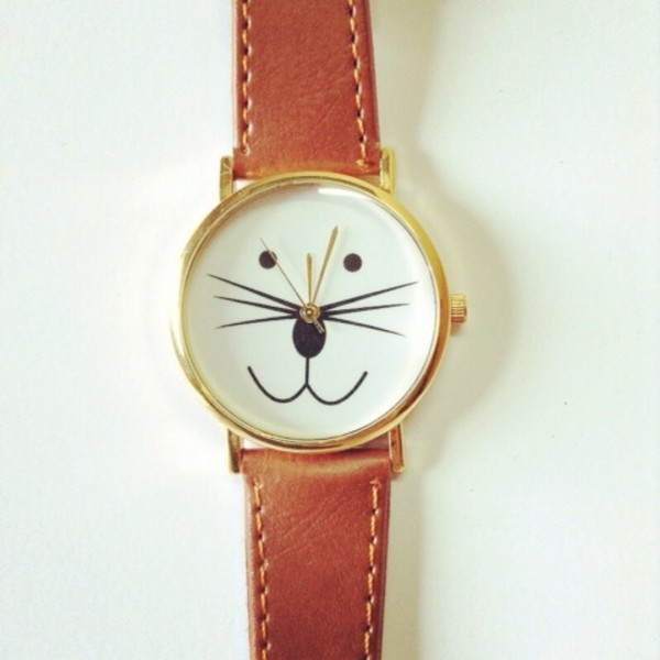 jewels watch leather watches freeforme cat watch kitty watch vintage style
