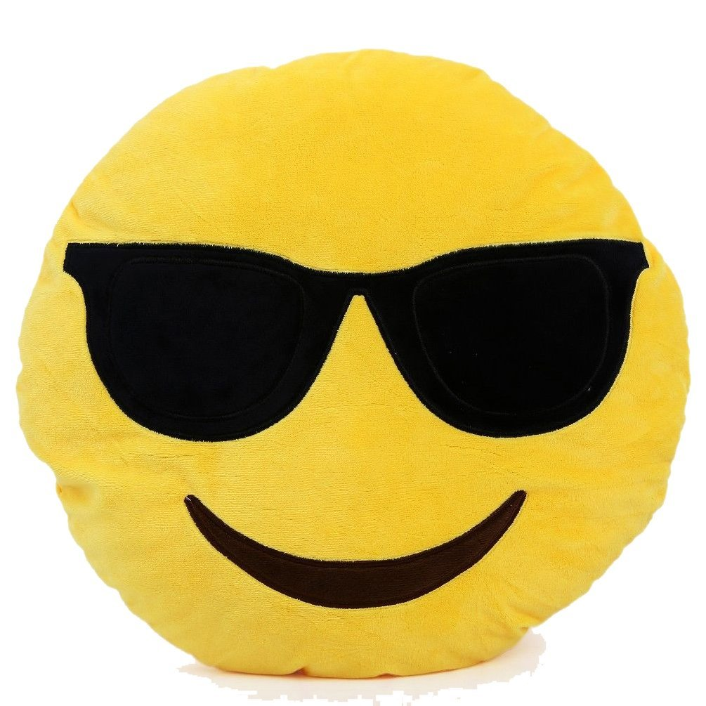 Amazon.com - Sagrun Cool Emoticon Smirking Yellow Round Cushion Pillow Stuffed Plush Toy Doll, 32cm -