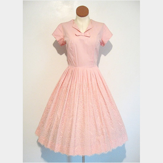 50s Dress Pink Chantilly Lace Bouffant by TheVintageZone