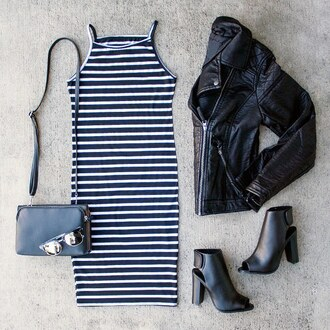 dress stripes booties black booties peep toe leather jacket sunnies clutch