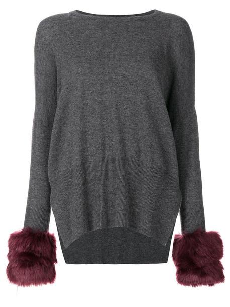 Izaak Azanei jumper fur faux fur women grey sweater
