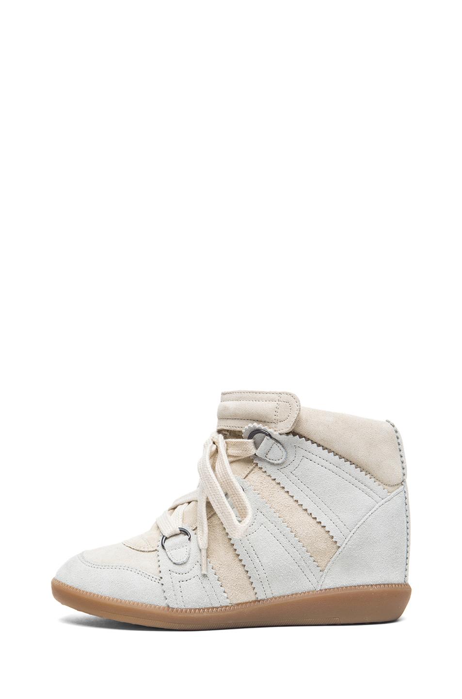 Isabel Marant|Bluebel Calfskin Velvet Leather Sneakers in Chalk