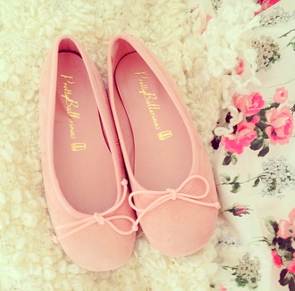 shoes pink ballet flats bows ballerina girly