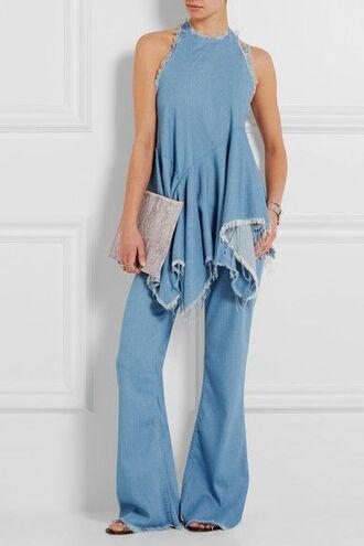 top frayed top denim top blue top sleveless top denim jeans flared jeans blue jeans clutch envelope clutch