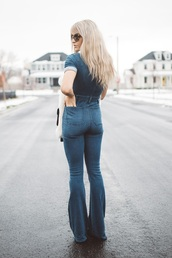 jumpsuit,tumblr,sunglasses,flare jeans,flare,overalls,dungarees,blue overalls,denim overalls,blonde hair