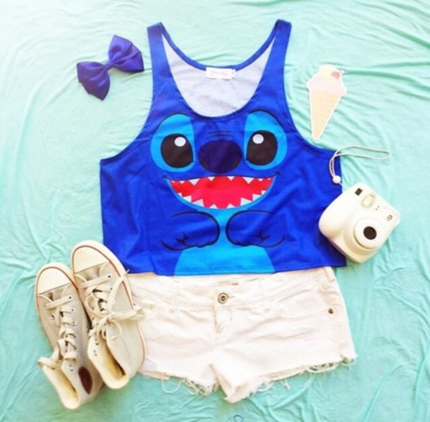 bleu stich short shirt shirt t-shirt stitch lilo and stitch blue shirt happy face lilo&stitch top blouse graphic tee t-shirt blue cute shirt shorts hair accessory tank top shoes debardeur lilo & stitch shirt