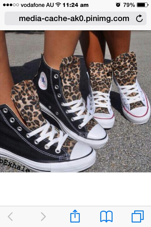 Custom All Stars >> Custom Converse Chuck Taylor All Star Black High Top Leopard Print Men & Women