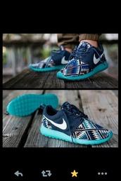 shoes,nike,nike roshe run,baby blue,tribal pattern