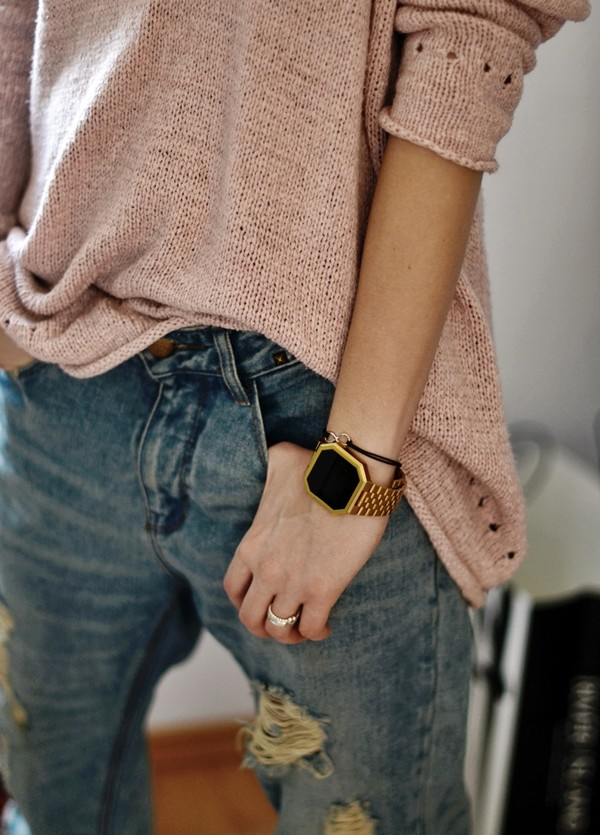 jewels gold watch watch gold sweater jeans ripped jeans blouse gold jewelry casio watch winter sweater old pink cute beautiful trendy bracelet chains blue denim ripped shirt summer fall outfits winter outfits warm winter outfits warm sweater
