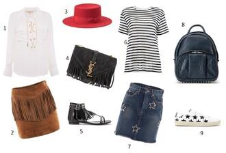 fashion vibe blogger shirt skirt hat bag shoes t-shirt