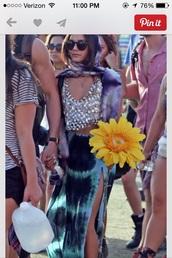skirt,vanessa hudgens,boho,tie dye,maxi skirt,blue,bohemian,shirt