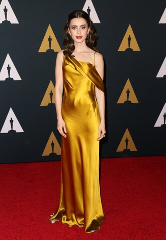 dress gown silk dress lily collins red carpet dress