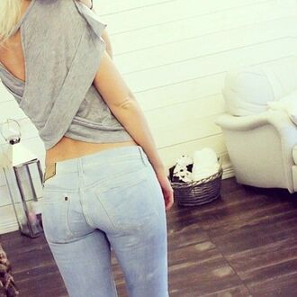 shirt jeans skinny jeans light wash jeans cross back cross back top