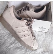 shoes,adidas,adidas shoes,adidas superstars,beige,grey,beige shoes,brown shoes,low top sneakers,sneakers,nude sneakers,suede sneakers,girls sneakers,women,pastel sneakers,adidas originals,multicolor,tan,begie,tumblr,light pink