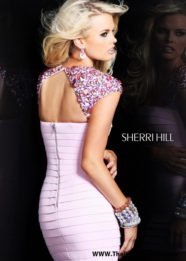 Sherri Hill 2934 Pink Square Neck Rhinestone Prom Dress [Sherri Hill 2934 Pink] - $185.00 : Prom Dresses 2014 Sale, 70% off Dresses for Prom