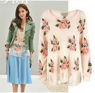 East Knitting Free Shipping AS 068 Women wildfox flower hollow out Roses knitting garment sweater tops-in Pullovers from Apparel & Accessories on Aliexpress.com