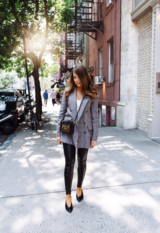 jacket black shoes tumblr blazer grey blazer check blazer plaid blazer leather leggings leggings shoes