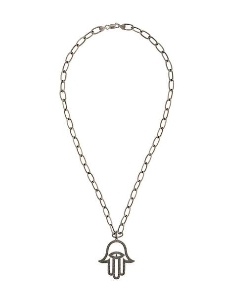 women necklace pendant silver black jewels