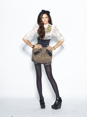 skirt,kendall jenner,model,modeling,lace top,headband,tights,knee high socks,over the knee socks,booties,boots,heels,wedges,shoes black wedges