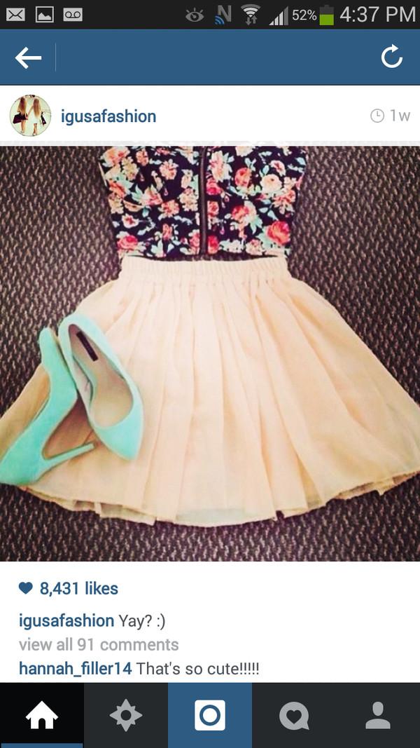 shirt floral bralette