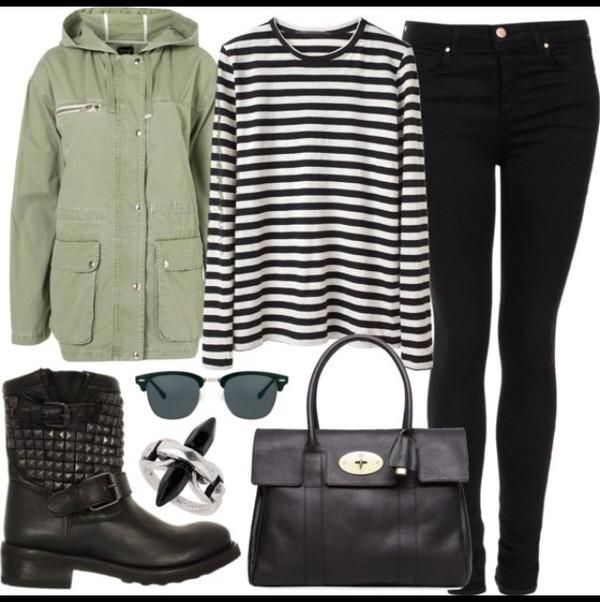 jacket olive jacket black jeans jeans malcolm x frames black purse black boots striped shirt malcolm x