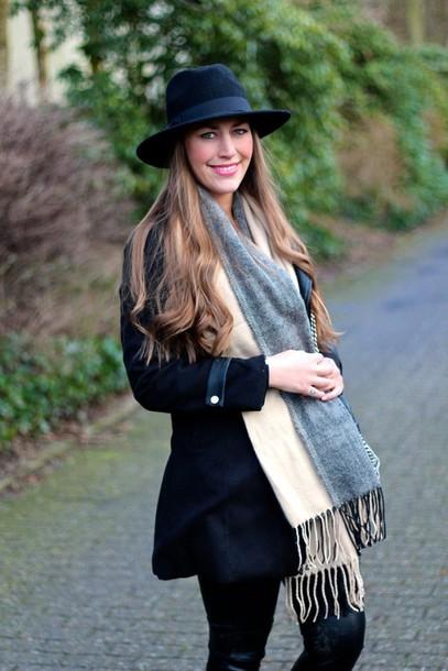 hat black fedora fedora scarf zaful beautfiful girl blogger fashion blogger fabes fashion coat