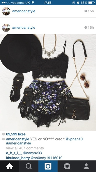 shorts purple lace summer cute