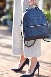 bag,tumblr,leather backpack,black backpack,tory burch,pants,nude pants,pumps,pointed toe pumps,high heel pumps,black heels,high heels,crocodile,designer bag