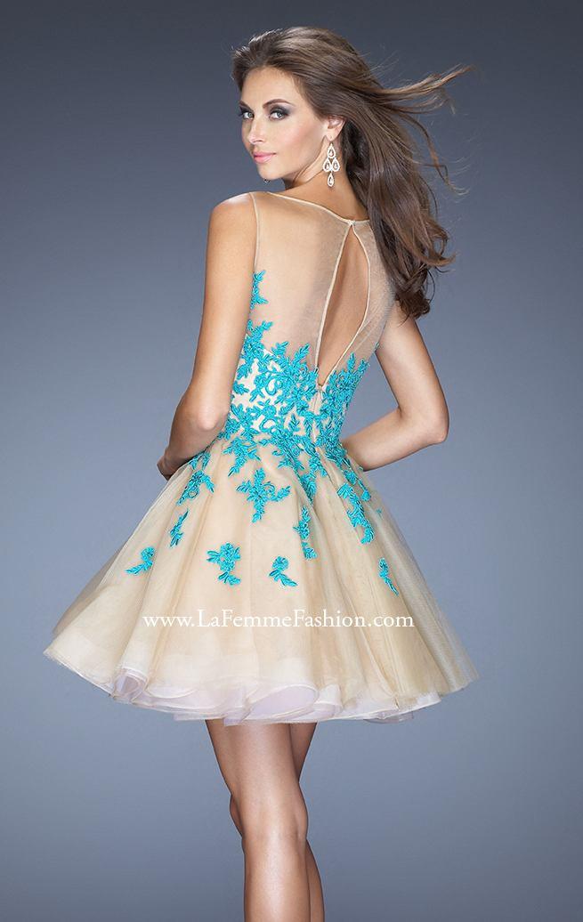 La Femme Contrasting Floral Lace Tulle Gown [LF20399] - $162.00 : Discover Unique Dresses Online at PromUnique.com