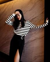 skirt,top,tumblr,midi skirt,black skirt,slit skirt,wrap skirt,stripes,striped top,black and white