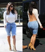 denim,shorts,kim kardashian,jeans,denim shorts,backless,kardashians