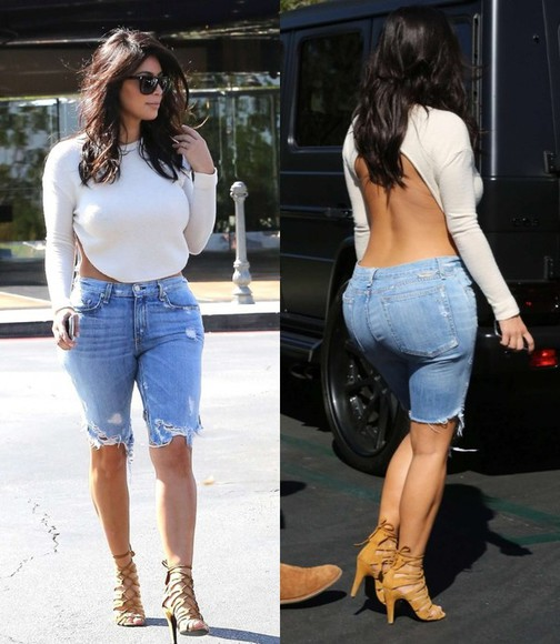 backless denim shorts kim kardashian jeans denim shorts kardashians