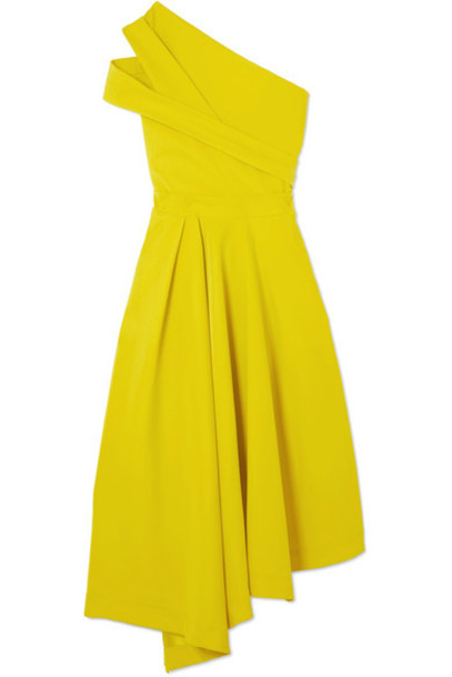 dress pleated yellow bright