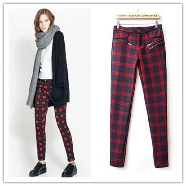 Pants: plaid, zip, trendy, red, green, hipster, cardigan, it girl ...