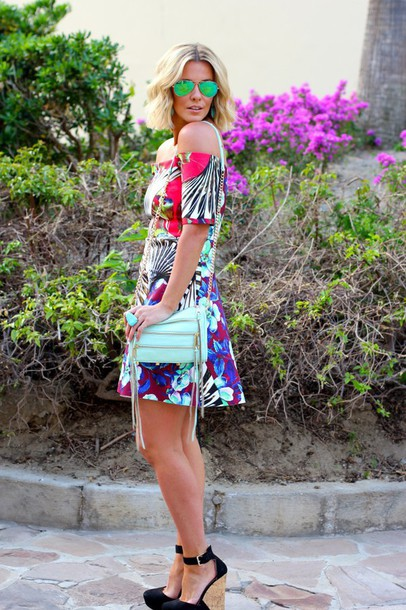 the courtney kerr blogger bag sunglasses patterned dress off the shoulder dress wedge sandals dress shoes jewels