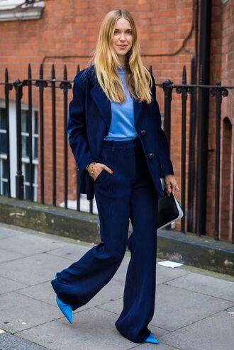 pants blazer wide-leg pants blue top blue shoes pumps bag