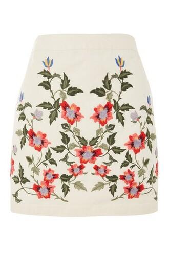 skirt embroidered cream