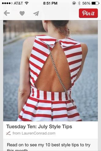 shirt stripes striped shirt red white peplum peplum top open back